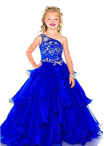 XianNv Flower Girl One Shoulder Pageant Dresses Glitz Red Gowns Floor Length (8, Royal Blue) by XianNv
