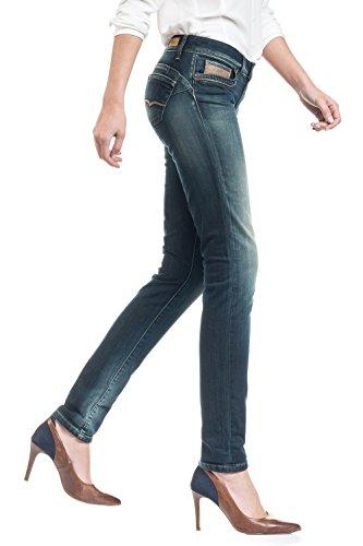 SALSA Pantalón pitillo Push Up Wonder con cintura media y detalle de napa Azul