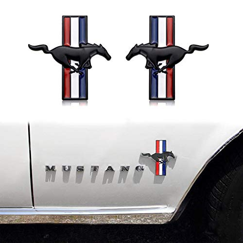 (Auggies FM-2MB Pair Mustang Running Horse Pony Tri Bar Fender Side Emblem Badge Plate Self- Adhesive For Mustang Emblem (Black))