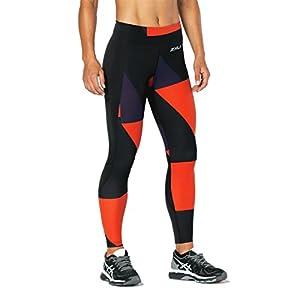 2XU Womens Fitness Compression Tights W/Storage, Dark Charcoal/Tomato Jagged Block, Medium