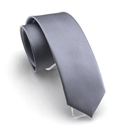 Solid Dark Grey Color Slim Ties Pure Color Necktie Mens Ties 2.4'' (6cm)+ Gift Box