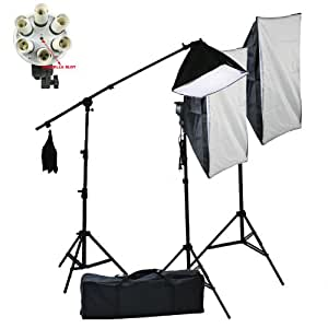 ePhoto 3600 Watt Digital Photo Film Video Continuous Softbox Light Lighting Kit Set with Carrying Case - 2 Light Stands, 2 Softboxes, 18 Bulbs, 2 Light Heads by ePhoto INC Vl9099