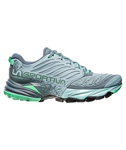 La Sportiva Akasha Woman, Zapatillas de Trail Running para Mujer Multicolor (Stone Blue / Jade Green 000)