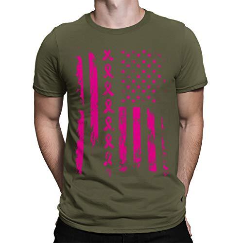 SpiritForged Apparel Pink Ribbon American Flag Breast Cancer Men's T-Shirt, Moss XL