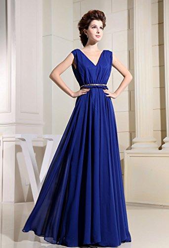 Bridal_Mall - Vestido - trapecio - Sin mangas - para mujer Koenigsblau 34