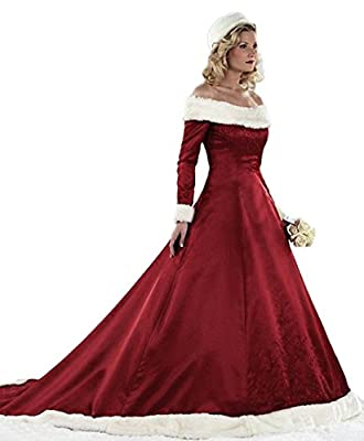 ZVOCY Women's Christmas Wedding Dresses Plus Size Long Sleeve Winter Satin With Faux Fur Bridal Gown