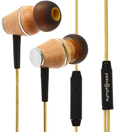Symphonized XTC 2.0 Earbuds with Mic, Premium Genuine Wood Stereo Earphones, Hand-Made in-Ear Noise-isolating Headphones with Tangle-Free Innovative Shield Technology Cable (Tropical Sun)