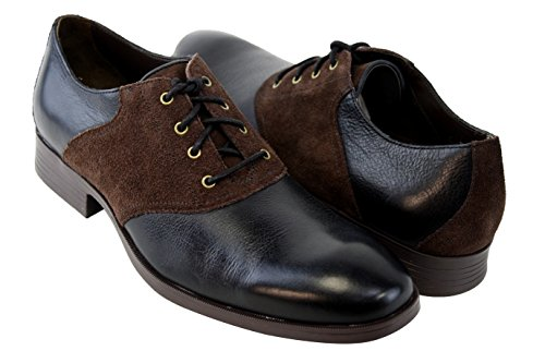 Cole Haan Copley Saddle Ox Oxford Black/Chestnut Brown Leather Mens Shoes IUrgg