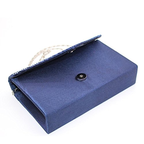 Bags Cocktail Party Bridal Sexy Envelope Evening Shoulder Satin Gifts Wedding SHOBDW Bag Diamante Clutch Blue Womens Prom Ladies 54vxq