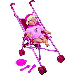 "Lissi Doll Umbrella Stroller Set with 16"" Doll Role Play Toy"