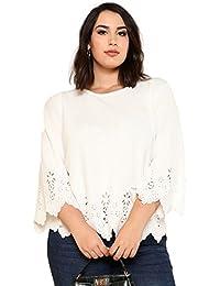 fdc314eabb Women s Plus Size Hollow Out Scallop Hem 3 4 Sleeve Blouse Top