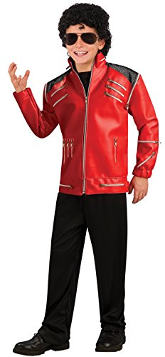 Michael Jackson Child's Deluxe Red Beat It Zipper Jacket Costume Accessory, (Red Leather Jacket Halloween Costume)