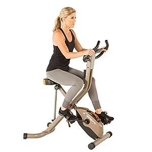 Exerpeutic Gold 575 XLS Bluetooth Smart Technology Folding Upright Exercise Bike, 400lb