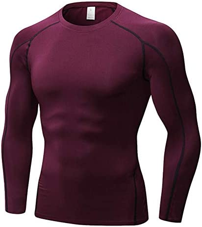 運動を実行するための速乾性通気性の圧縮服とメンズマルチカラー長袖フィットネススポーツTシャツ,C,M