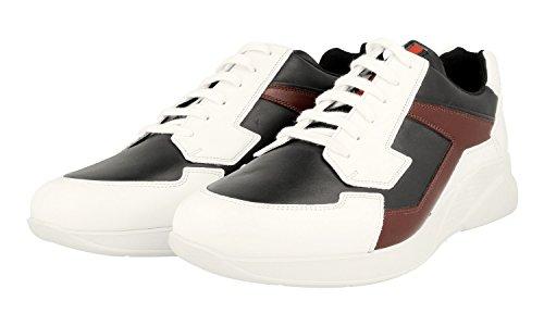 Prada Mens 4e2816 6dt F0va5 Sneaker En Cuir