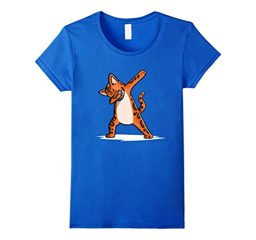Womens Funny Dabbing Bengal Cat T-Shirt Dab Dance Gift Shirt Small Royal Blue