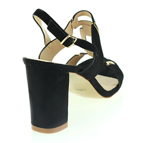 Women Ladies Evening Casual Party Buckle Closure Open Toe High Block Heel Sandals Shoes Size Black FGvb6O0GWE