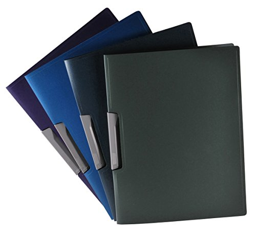Filexec Products Maxtallic Presentation Folders, Polypropylene, Silver Clip, Assorted Colors, Pack of 4 (Clip Folder)
