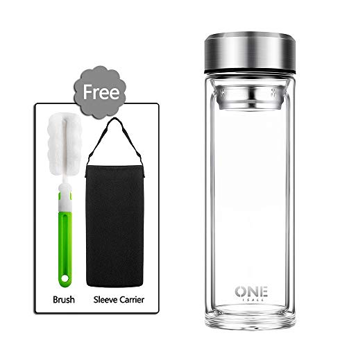 ONEISALL Large Capacity Double Wall Glass Tea Mug with Removable Tea Filter, Large Glass Water Bottle Travel Mug with Sleeve Carrier-Durable Glass Tea infuser Mug/Coffee Mug(1000ml/34oz)