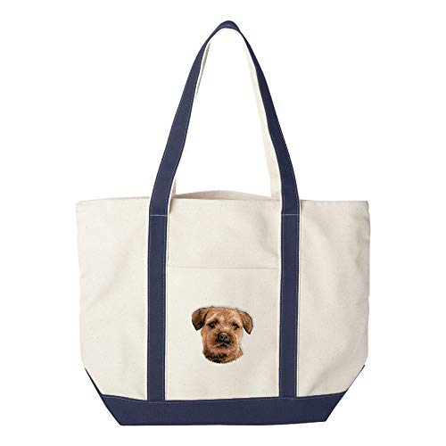 (Cherrybrook Dog Breed Embroidered Canvas Tote Bags - Navy - Border Terrier)