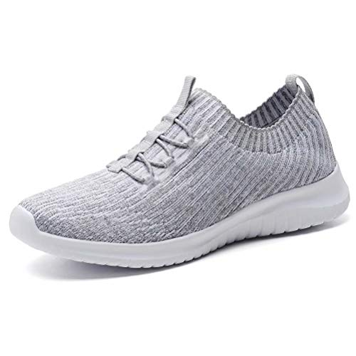 LANCROP Women's Athletic Walking Shoes - Casual Mesh Lightweight Running Slip On Sneakers 10 M US Grey ()