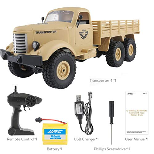 - Staron  Remote Control Truck Toy Boys, JJRC Q60 RC 1:16 2.4G Remote Control 6WD Tracked Off-Road Military Truck Car RTR Toys (Yellow)