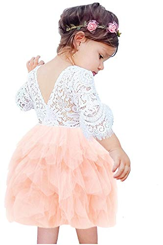 2Bunnies Girl Beaded Peony Lace Back A-Line Tiered Tutu Tulle Flower Girl Dress (Pink Bell Sleeve, 3T)