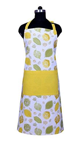 Apron, Unique Citrus Splash Design, Aprons for Women with Pockets, 100% Natural Cotton, Eco-Friendly & Safe, Adjustable Neck & Waist ties, Machine Washable, Cute Apron by CASA DECORS