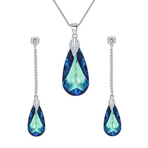 EleQueen 925 Sterling Silver CZ Teardrop Leaf Pendant Necklace Long Dangle Earrings Set Bermuda Blue Made with Swarovski (Swarovski Crystal Dangle Necklace)
