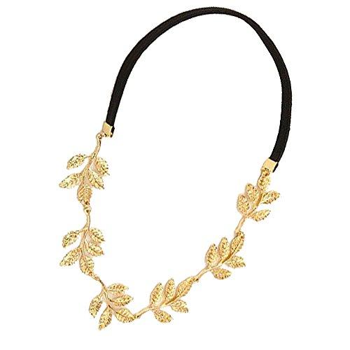 RotSale® 1x Luxus Schön Golden Metallisch Haarband Gold Haarschmuck für Damen Stirnband mit Olivenblätter