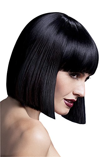 Fever Women's Blunt Cut Black Bob Wig with Bangs, 12inch, One Size, (Black Bob Wigs)