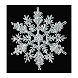 "12 Piece Glitter 4"" Snowflake Christmas Ornaments - 4"" (Choose Your Color)"