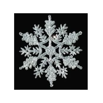 Amazon.com: 12-pc Silver 4 inch Snowflake Christmas Ornaments: Home ...