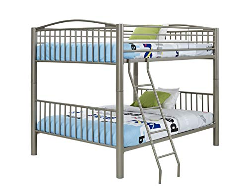 Powell 941-138 Heavy Metal Bunk Bed, Twin-Over-Twin, Pewter