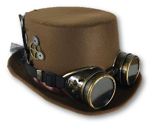 Brown Steampunk Victorian Top Hat Adult Feathers Gears Goggles Costume (Ladies Steampunk Hats)