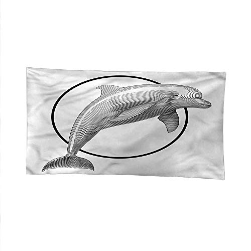Nauticalspace tapestrywall Hanging tapestryJumping Dolphin and Ring 84W x 54L Inch