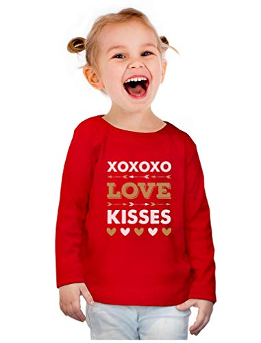 XOXOXO Love & Kisses Valentine's Day Toddler Girls Fitted Long Sleeve T-Shirt