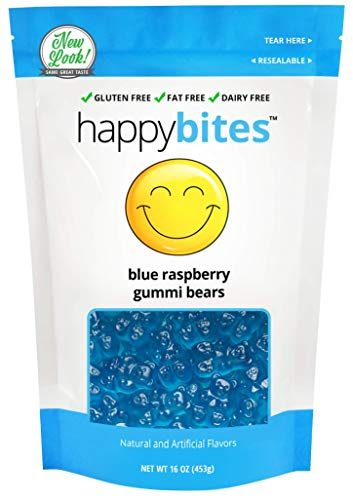 - Happy Bites Blue Raspberry Gummi Bears - Gluten Free, Fat Free, Dairy Free - Resealable Pouch (1 Pound)