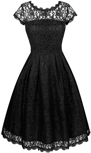 Angerella Retro Dresses For Women Vintage Classy Black Party Bridesmaid Dress