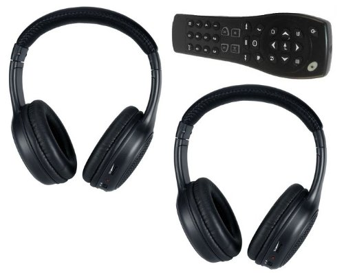 Equinox Uplander Tahoe Traverse Silverado Suburban DVD Headphones Headsets (Set of Two) and One Remote Control 2007 2008 2009 2010 2011 2012 2013 by DVD Entertainment Inc.