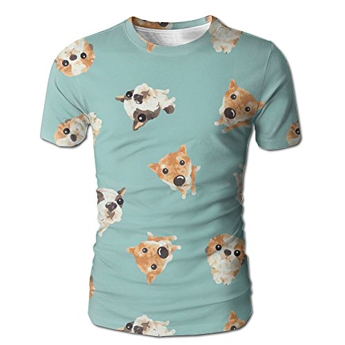 Fluffy Puppy Male Ugly Short Sleeve Tee Full Print Jersey Undershirts XX-Large (Button Chameleon Pin)