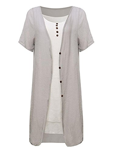 Two Gray Women Dress Button Casual Linen Low High Piece Short Sleeve Uq1nawxH