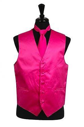 Amazon.com: Hombre vestido chaleco corbata pañuelo rosa ...