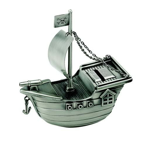 Creative Gifts Pirate Ship Bank, Pewter Finish. Pewter Pewter Finish