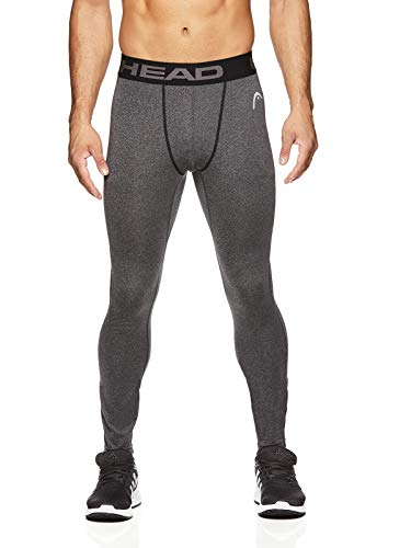 HEAD Men's Flex Compression Pants - Running & Workout Activewear Tights - Flex Charcoal Heather, Medium