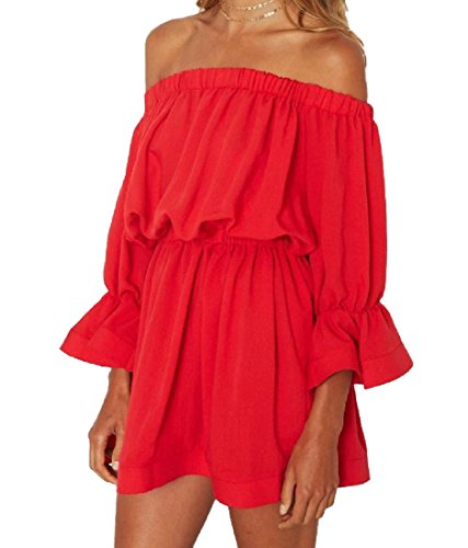 Womens Collar Dress Mini Comfy Solid Fit Relaxed Sun Cutaway Red Waist Colored dEqvgqSB