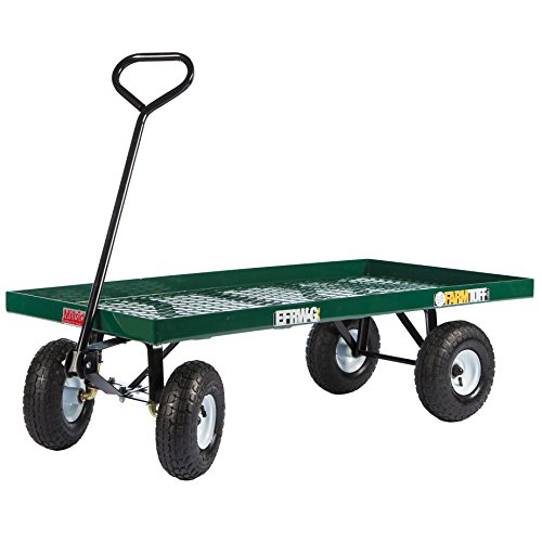 Millside Metal Deck Wagon with Flat Free Tires, Green - EFRW