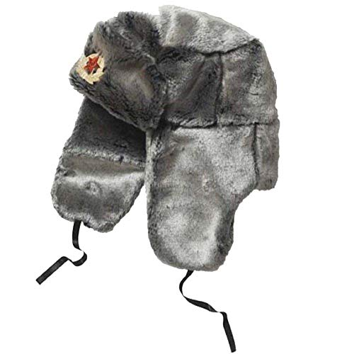 Russian Soviet Army USSR Badge Real Military Fur Soldiers Ushanka Headwear US (Silver, XL (60 cm))