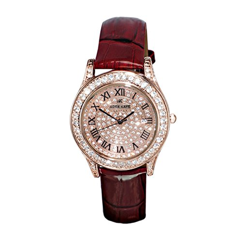 Adee Kaye Rhines Rose Gold Crystal Pave Dial Ladies Watch AK9257-LRG