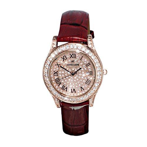 Adee Kaye Rhines Rose Gold Crystal Pave Dial Ladies Watch AK9257-LRG